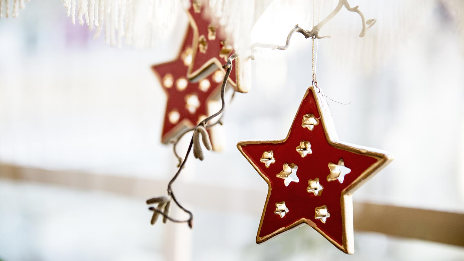 Detail of some Christmas decorations with red stars hanging from a branch at Hotel Gschwendt in Val Casies