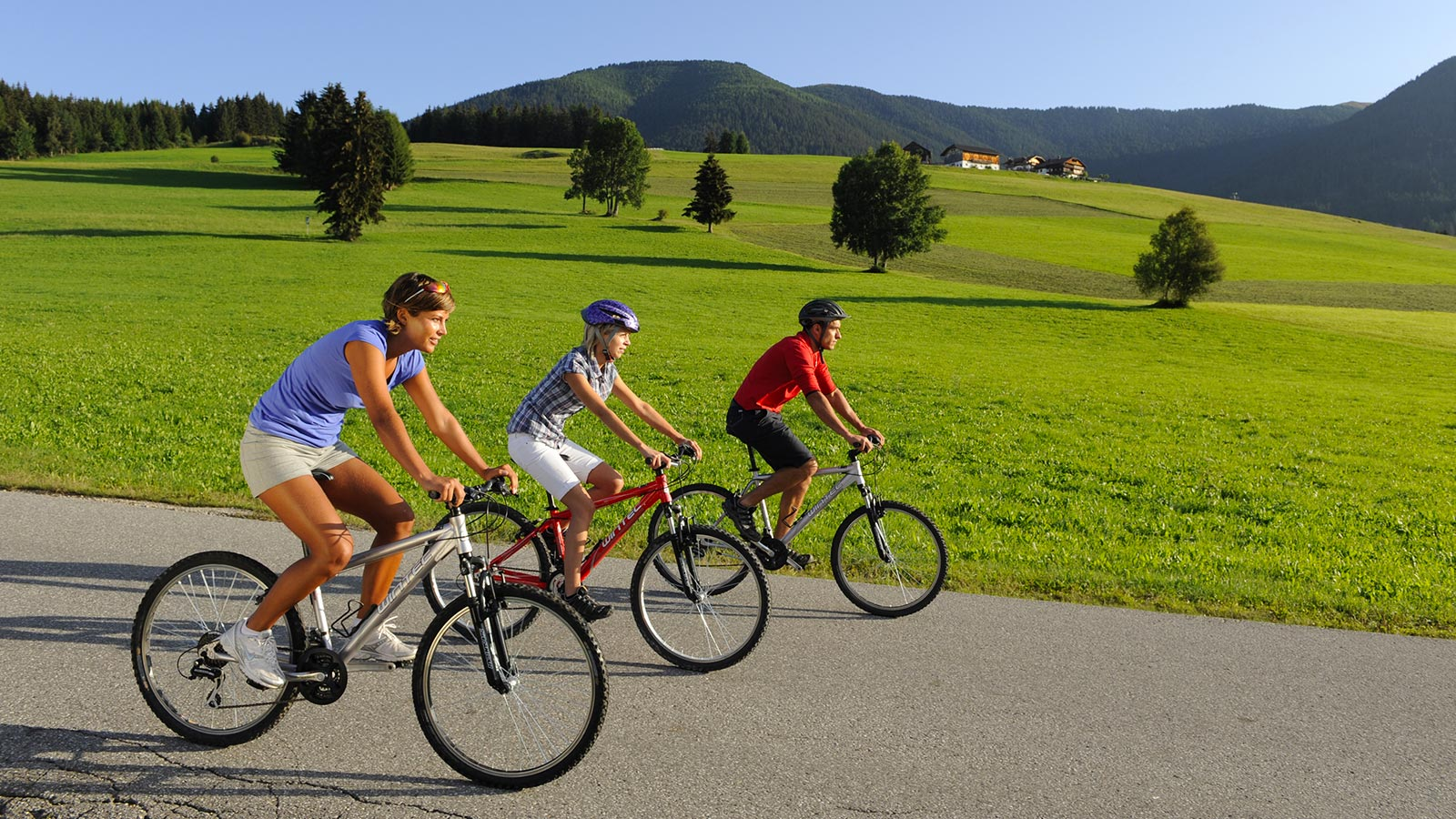 A group of cyclists cycling through the green meadows of Val Casies in summer