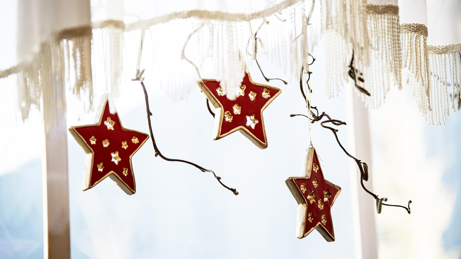 Three red Christmas stars hanging from a branch at our accommodation in Val Casies